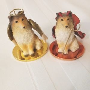 Collie figures by Tiny Ones angel and devil